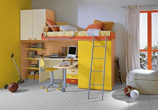 lit-mezzanine-avec-bureau-lit-avec-armoire-jaune
