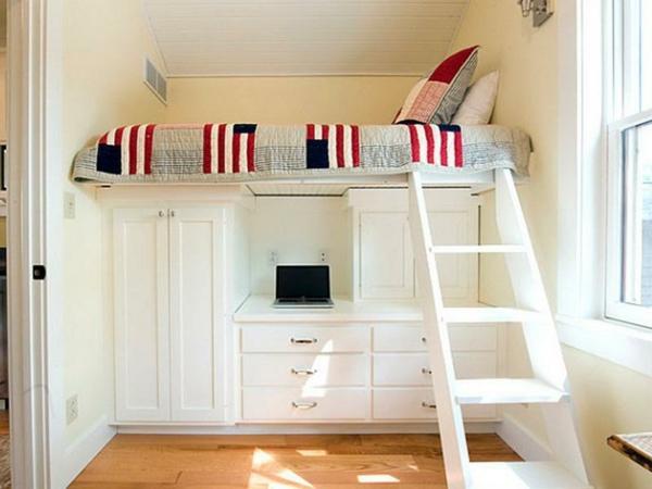 lit-mezzanine-avec-bureau-lit-bureau-et-échelle-en-blanc