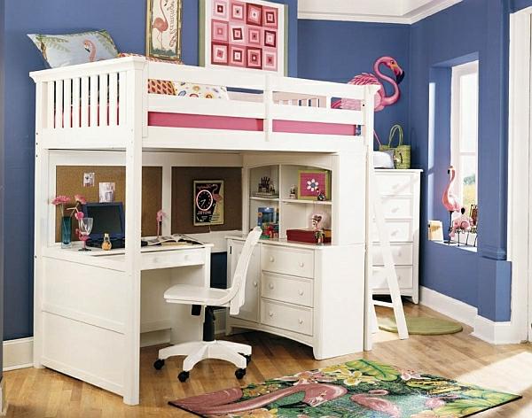 Le lit mezzanine avec bureau est lameublement créatif