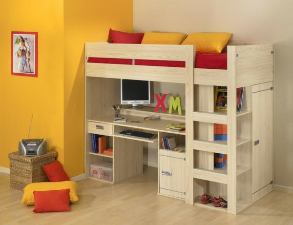 lit-mezzanine-avec-bureau-mur-jaune-coussins-décoratifs