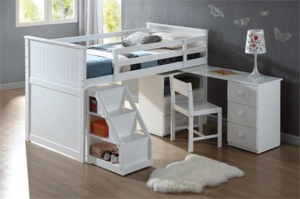 Le lit mezzanine avec bureau est l'ameublement créatif pour les ...