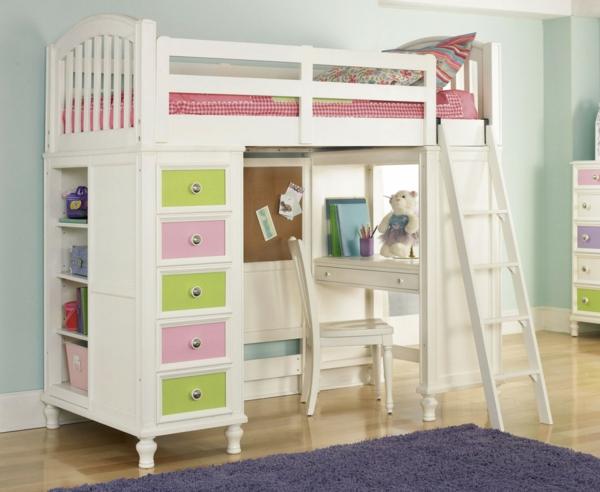 Le lit mezzanine avec bureau est l 39 ameublement cr atif pour les chambres - Lit mezzanine pour fille ...