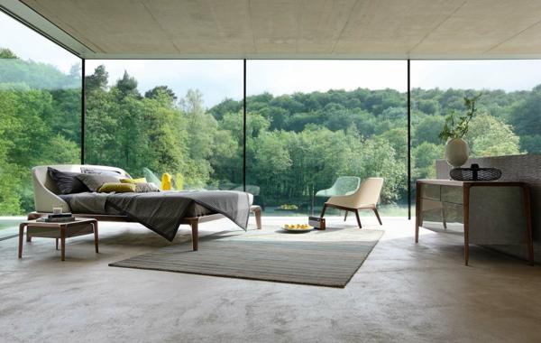 lit-roche-bobois-chambre-à-coucher-et-mur-en-verre