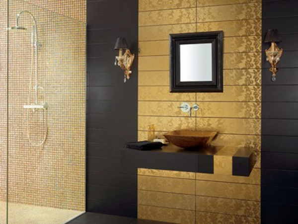 Le carrelage mural de salle de bain - Carrelage mural noir ...