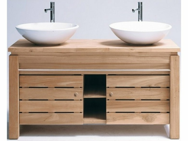 meuble-de-salle-de-bains-en-teck-et-deux-vasques-posées