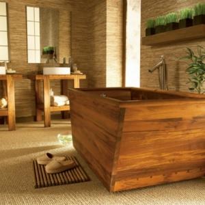 Le meuble de salle de bains en teck