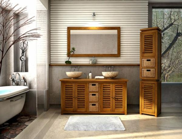 meuble-de-salle-de-bains-en-teck-miroir-rectangulaire