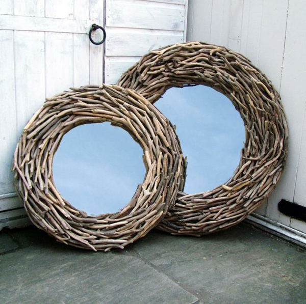Voyez le monde dans le miroir bois flott - Comment fabriquer un miroir en bois flotte ...