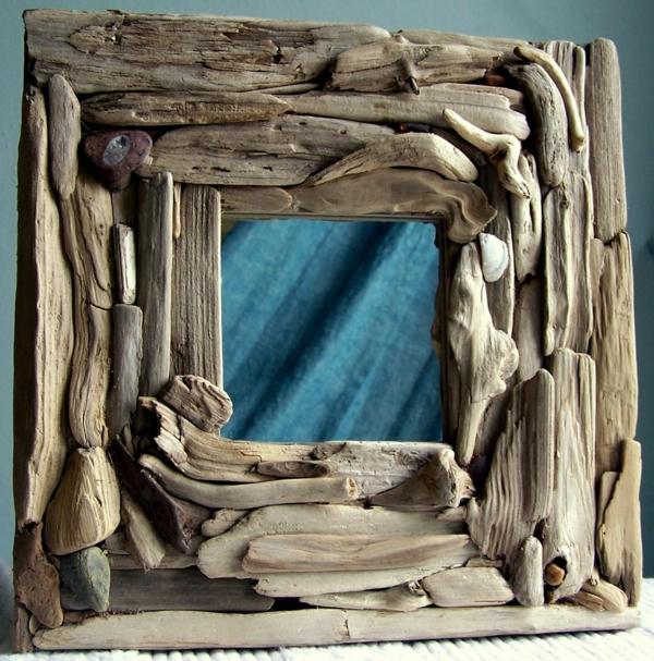 Voyez le monde dans le miroir bois flott - Encadrement bois pour miroir ...