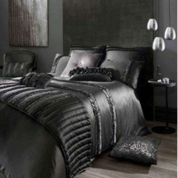 parure de lit satin noir pas cher. Black Bedroom Furniture Sets. Home Design Ideas