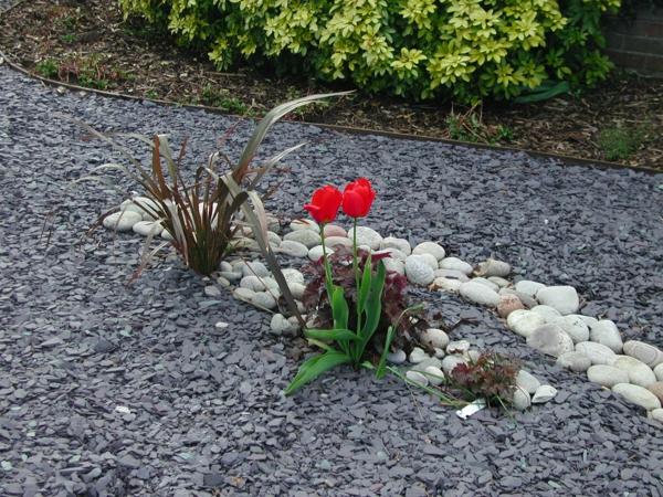 Le paillage ardoise cr e une d coration l gante co pour Pic decoratif pour jardin