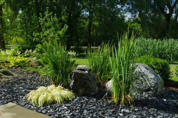 Le paillage ardoise cr e une d coration l gante co pour vos jardins - Deco de jardin moderne nimes ...