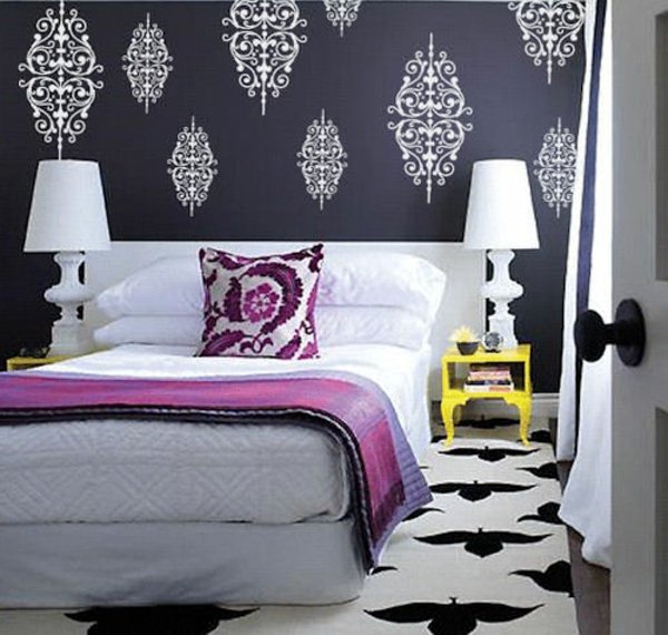 Le papier peint baroque et le style moderne classique - Chambre moderne noir et blanc ...