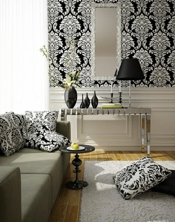 le papier peint baroque et le style moderne classique. Black Bedroom Furniture Sets. Home Design Ideas