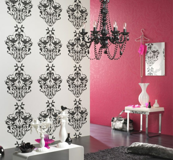 le papier peint baroque et le style moderne classique. Black Bedroom Furniture Sets. Home Design Ideas