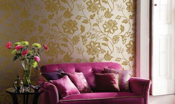 papier-peint-baroque-un-divan-rose