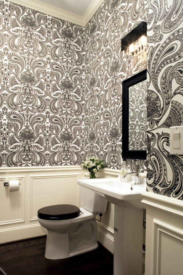 papier peint salle de bain design id es de conception sont int ressants. Black Bedroom Furniture Sets. Home Design Ideas
