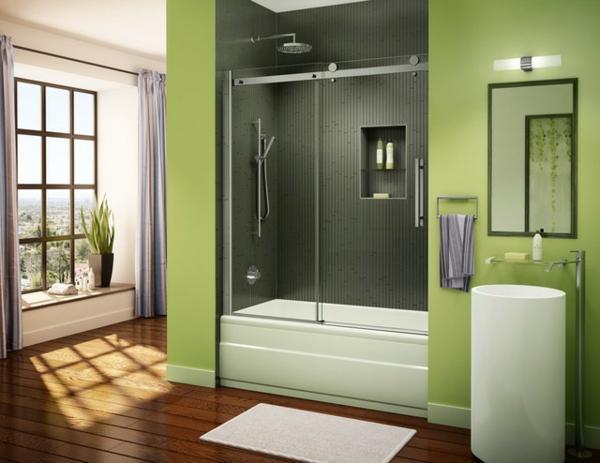 parquet-stratifié-dans-la-salle-de-bains-cabine-de-douche-intégrale