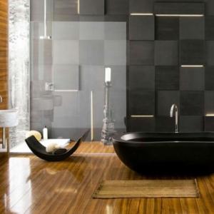 le parquet stratifi dans la salle de bains est une dcoration du sol fonctionnelle - Peut On Mettre Du Parquet Dans Une Salle De Bain