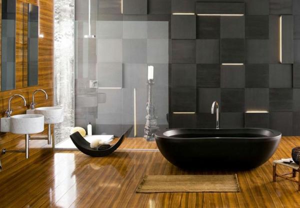 Le parquet stratifi dans la salle de bains est une d coration du sol fonctio - Salle de bain avec parquet ...