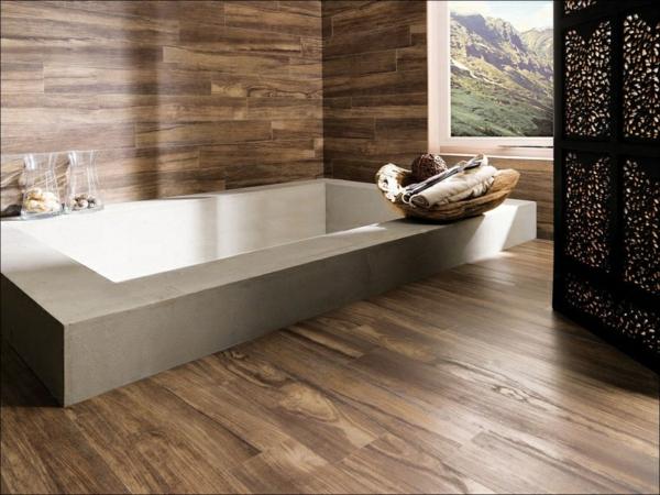 le parquet stratifi dans la salle de bains est une d coration du sol fonctionnelle. Black Bedroom Furniture Sets. Home Design Ideas