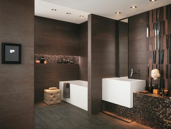 Le parquet stratifi dans la salle de bains est une d coration du sol fonctio - Salle de bain ultra moderne ...