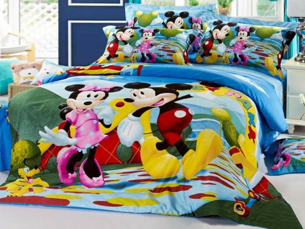 parure-de-lit-mickey-Mickey-et-Minnie-couette-bleue