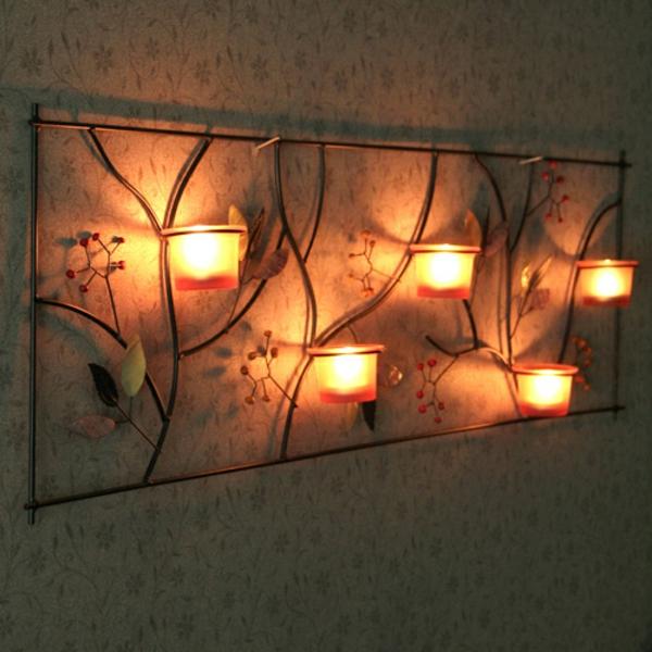 Un photophore mural pour la d co magique de vos murs - Porte bougie en bois ...