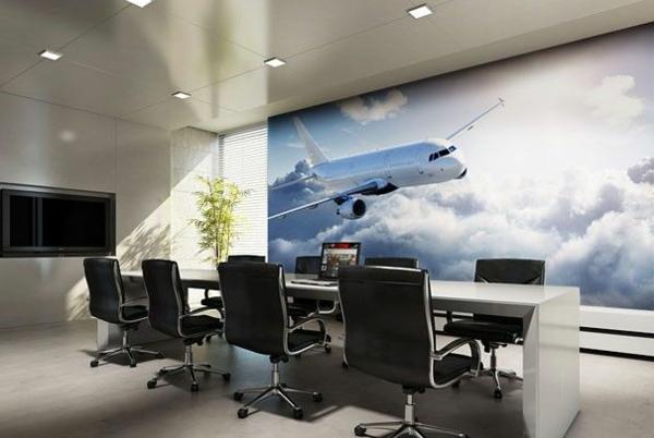 poster-mural-trompe-l' oeil-avion