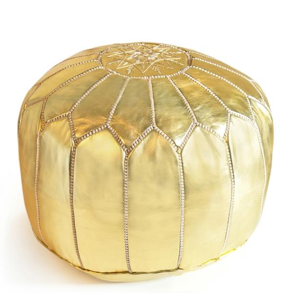 pouf-marocain-couleur-dorée