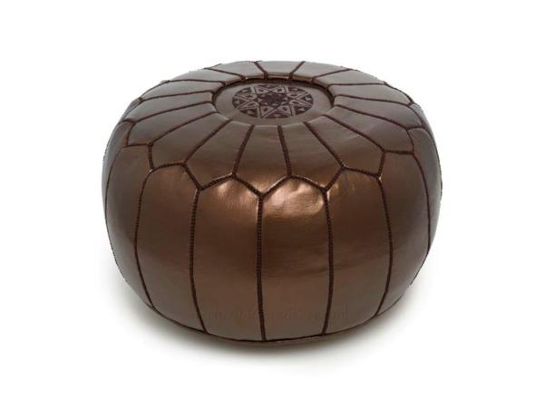 pouf-marocain-marron-métallique