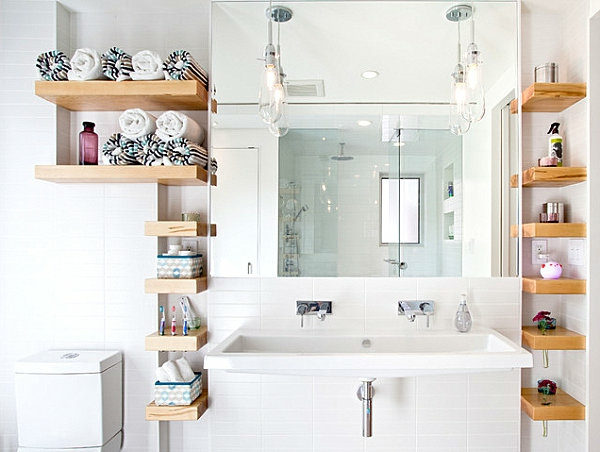 rangement-de-salle-de-bains-étagères-en-bois