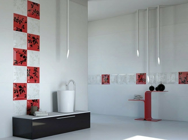 Le carrelage mural de salle de bain for Salle de bain noir et rouge