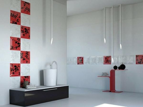 Le carrelage mural de salle de bain - Salle de bain en rouge ...