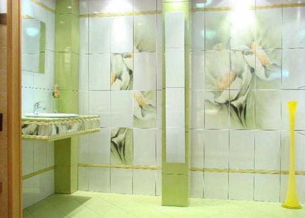 unique carrelage mural de salle de bain en fleur verte