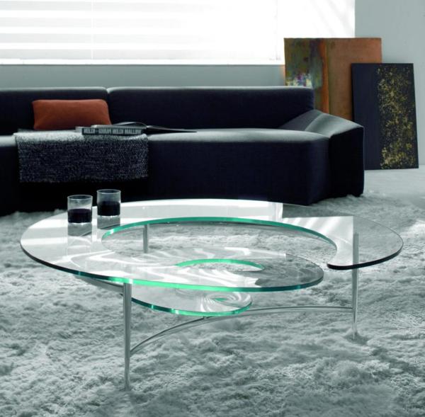 table-basse-transparente-canapé-cuir-noir