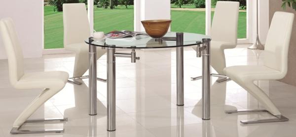 table-ronde-extensible-apiètement-solide-à-quatre-pieds