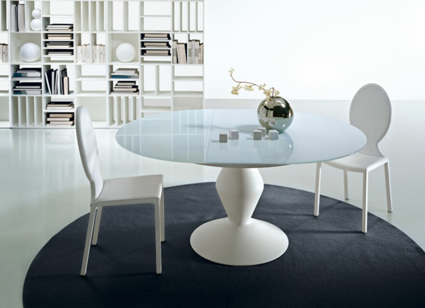 Table Ronde Extensible Design : table ronde extensible, design blanc, bibliothèque minimaliste ...