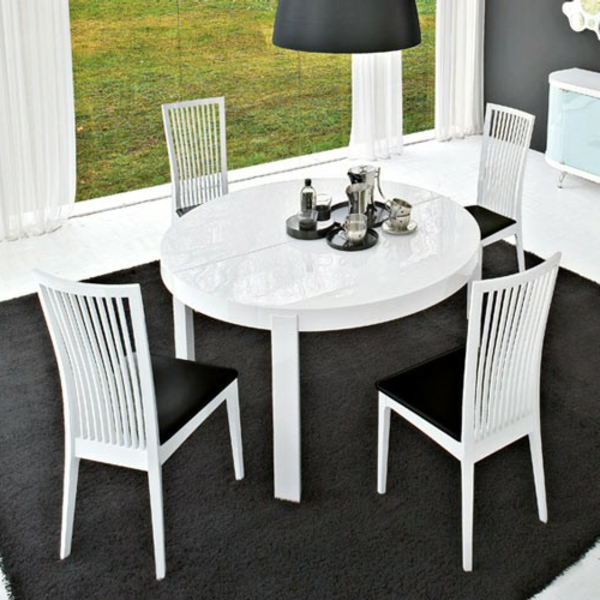 Table a manger blanche ronde for Table salle a manger blanche extensible
