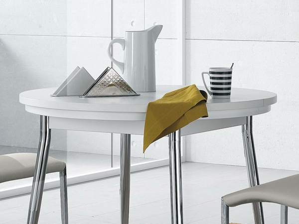 Table Ronde Extensible Design : table-ronde-extensible-design-blanc