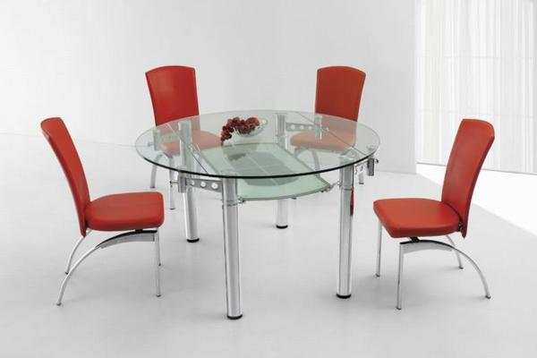 La table ronde extensible id es pratiques pour votre ameublement - Table en verre et chaises ...