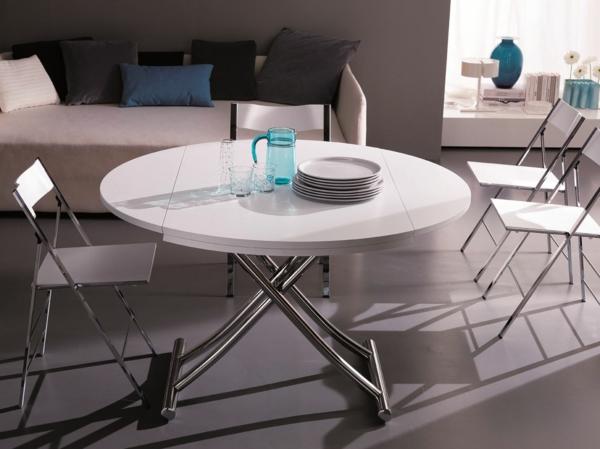 table-ronde-extensible-pieds-chromés