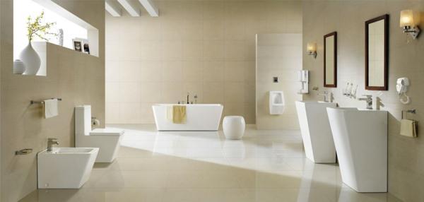 La vasque colonne id es pratiques et style luxueux for Salle de bain beige et blanc