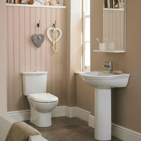 le rangement en bois et la vasque colonne blanche forment un joli - Colonne Vasque Salle De Bain