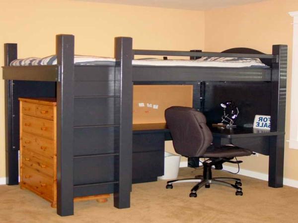 élégant-construction-de-lit-mezzanine-et-bureau-couleurs-foncé