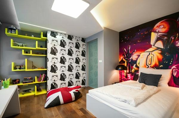 étagère-murale-design-rangement-vert-dans-une-chambre-de-garçon