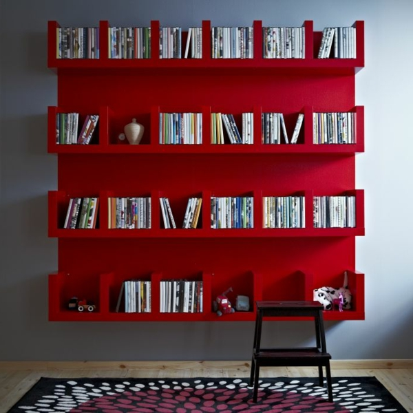 L 39 tag re murale design 82 id es originales - Etagere murale rouge ...
