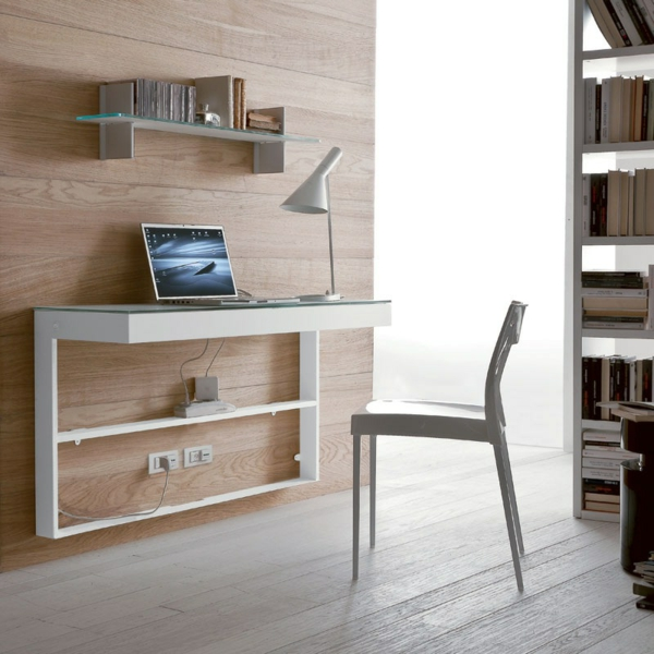 Designs uniques de bureau suspendu for Meuble bureau bibliotheque
