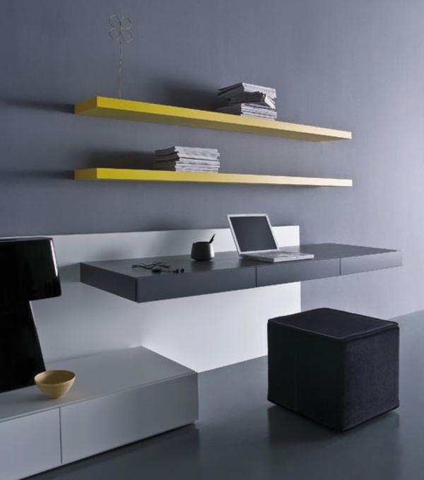 bureau-suspendu-bureau-noir-et-étagères-jaunes