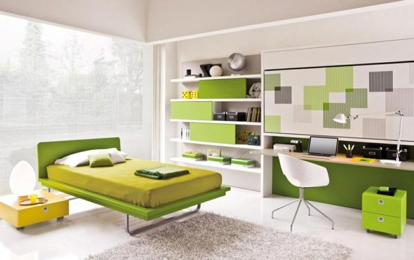 bureau-suspendu-et-mobilier-vert-dans-une-chambre-à-coucher